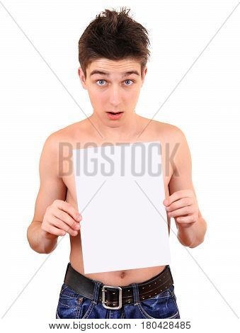 Surprised Young Man hold a Blank Paper on the White Background