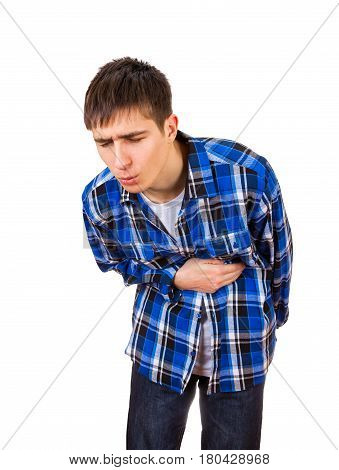 Young Man feels Stomachache Isolated on the White Background