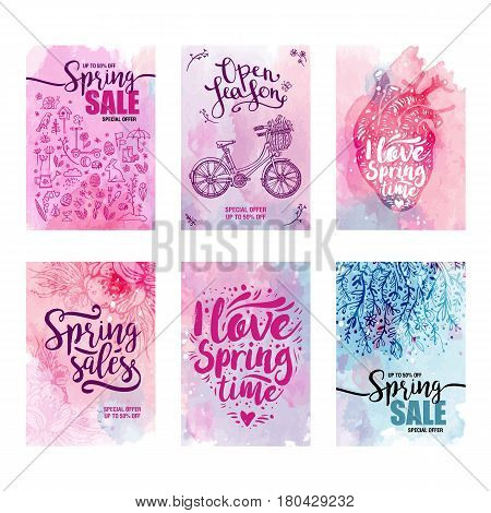 cards set Spring sales on a floral watercolor background. Set of icons, bicycle, heart. Typography poster, banner, design element. Vector illustration