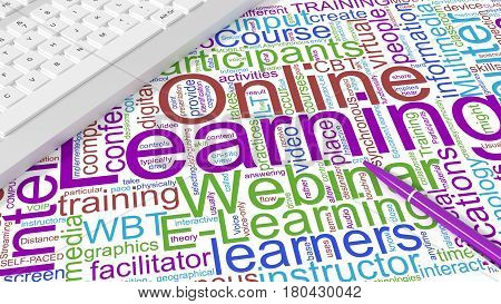 Computer keyboard on white desk with online learning keywords wordcloud and purple pen e-learning concept 3d illustration