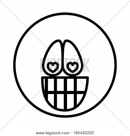 silhouette emoticon face crazy in love expression vector illustration