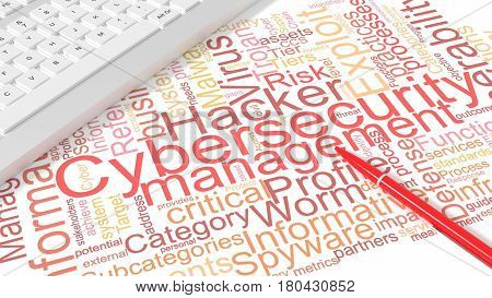 Computer keyboard on white desk with cybersecurity keywords wordcloud and red pen information security concept 3d illustration