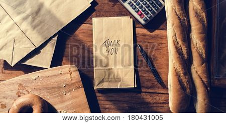 Bakery Paper Bags with Thankful Handwriting