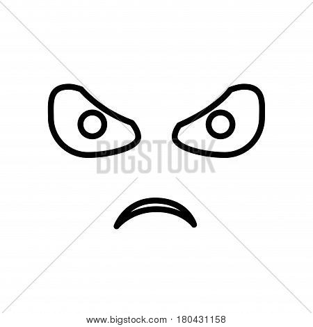 sketch silhouette emoticon angry expression vector illustration