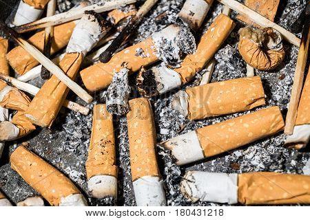 Ashtray and cigarettes close-up withe flash studio light