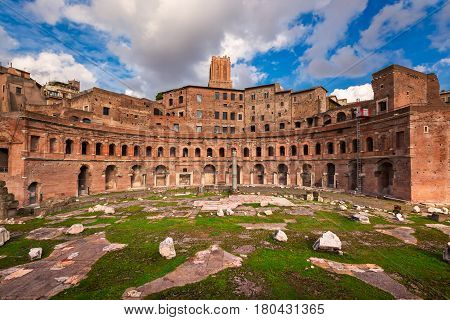 Trojan's Forum in Rome Italy (was the last and largest of the Imperial Forums that formed the political and governmental center of the Roman Empire)