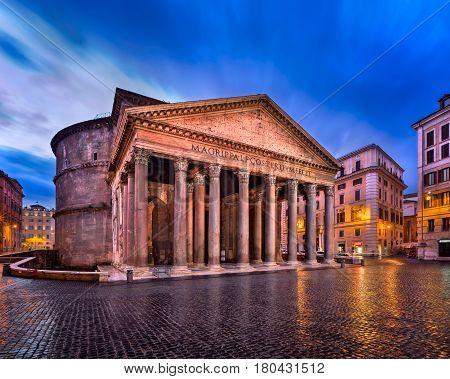 Pantheon and Piazza della Rotonda in the Morning Rome Italy