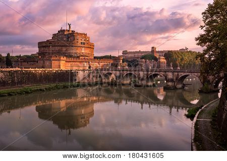 Hadrian Masoleum and Sant Angelo Bridge in the Morning Rome Italy