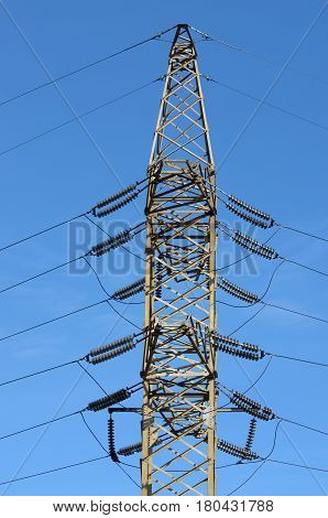 Line of electricity transmission with high voltage.To power facilities in the city.