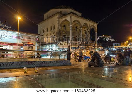 ATHENS, GREECE - JANUARY 19 2017:  Night photo of Monastiraki square, Athens, Attica, Greece