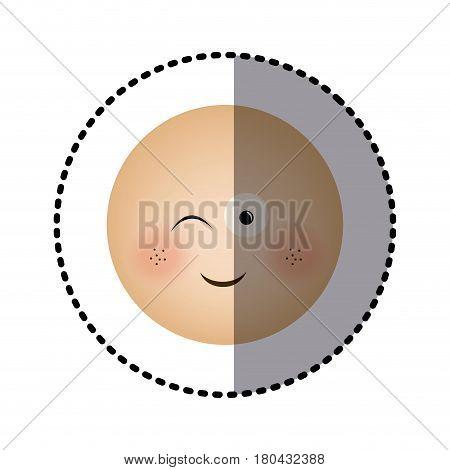 sticker human face emoticon winking expression vector illustration
