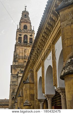 Cordoba (Andalucia Spain): courtyard of the medieval cathedral known as mezquita-catedral portico and belfry
