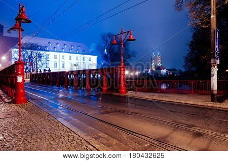 Most Piaskowy The Red Bridge In Wroclaw ,silesia ,poland