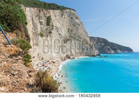 Amazing panorama of blue waters of Porto Katsiki Beach, Lefkada, Ionian Islands, Greece