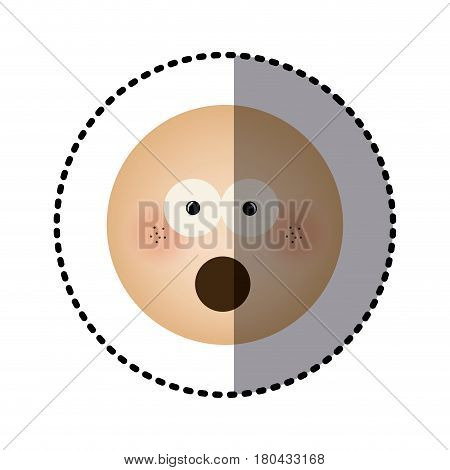 sticker human face emoticon puzzled expression vector illustration