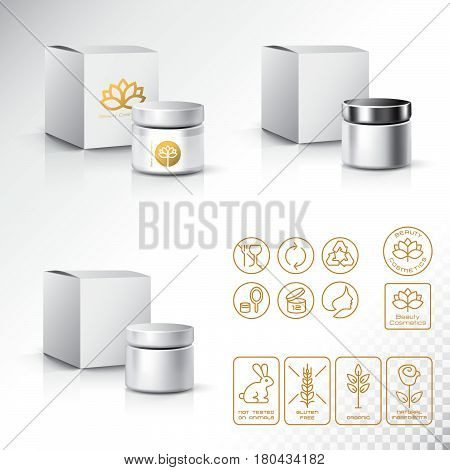 Modern Thin Contour Line Icons Set Of Natural Cosmetics Packaging.