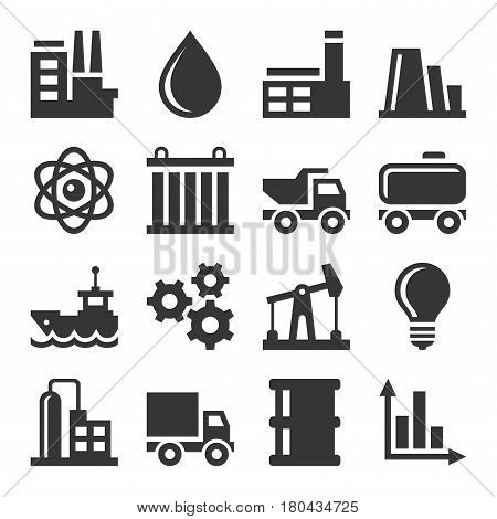 Industry Icons Set on White Background. Vector