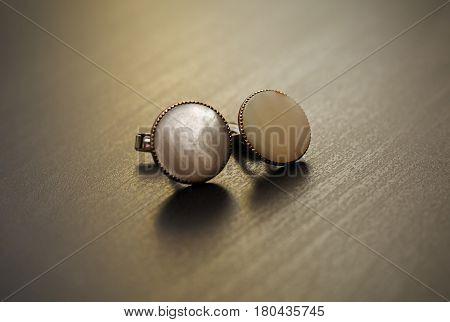 closeup Vintage stone cuff in grey background
