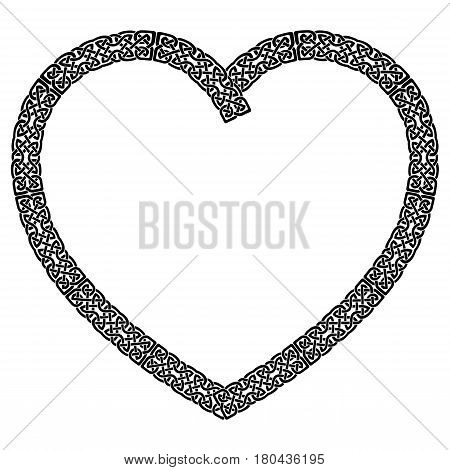 Celtic style knotted heart in black stroke with eternity knot pattern inspired by Irish St Patrick's Day, and Irish and Scottish carving art