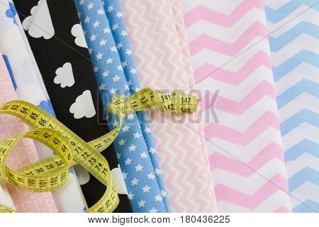 Cotton Fabric Material And Tailor Measurement Tape