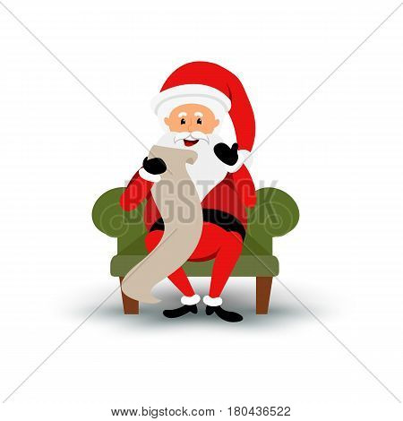 Christmas smiling Santa Claus character sitting on a chair and read a long letter. Cartoon bearded man in festive costume. xmas. Graphic illustration