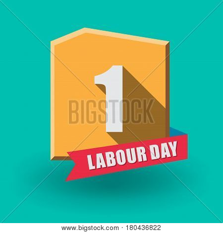 1 May Labour Day greeting card or background. Flat design. Contour line. poster