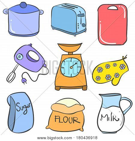 Collection stock kitchen accessories set vector illustration