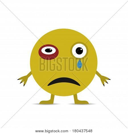 Yellow Sad Smiley Face with tear and bruise under the eye