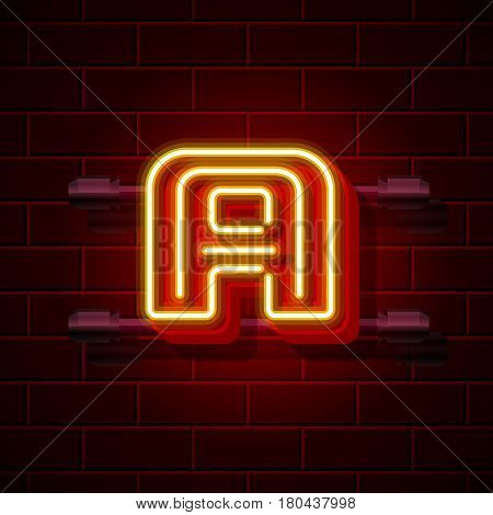 Neon city font letter A signboard. Vector illustration collection