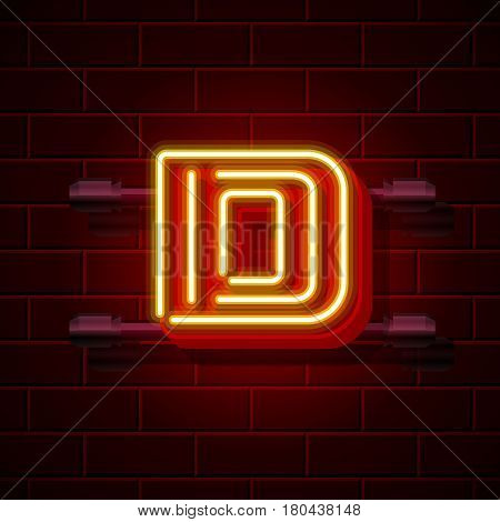 Neon city font letter D signboard. Vector illustration collection
