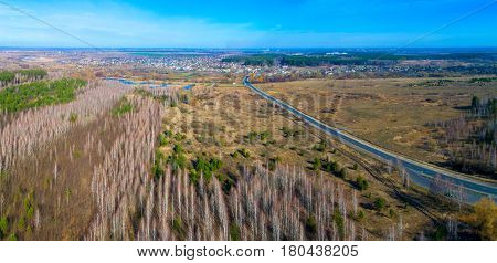 Spring landscape of nature from the height