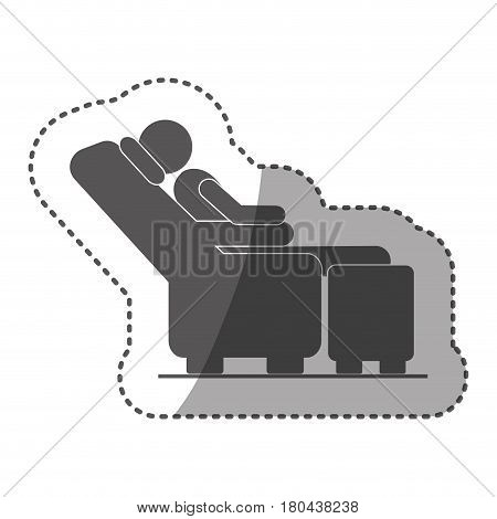 sticker black silhouette pictogram male sitting in reclining chair vector illustration