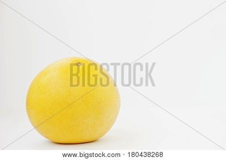 Exotic Fruit Pomelo Or Citrus Maxima Isolated On White Background. Healthy Eating Dieting Food.