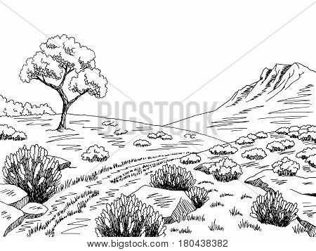 Heathland graphic black white landscape sketch illustration vector
