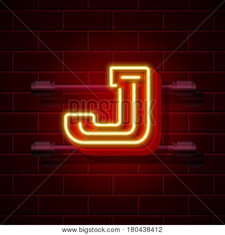 Neon city font letter J signboard. Vector illustration collection