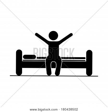 black silhouette pictogram person in bed waking up vector illustration