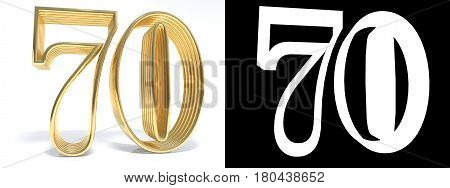 Golden number seventy on white background with drop shadow and alpha channel. 3D illustration