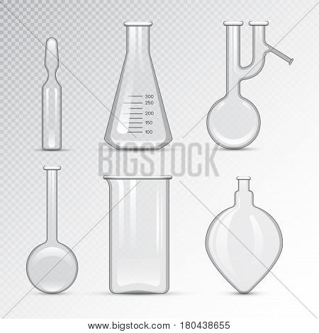 Chemical laboratory 3d lab flask glassware tube liquid biotechnology analysis and medical scientific equipment vector illustration. Chemistry experiment research test science glass.