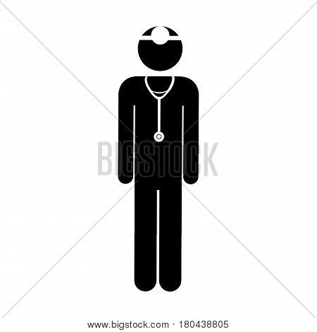 black silhouette pictogram male surgeon with stethoscope vector illustration