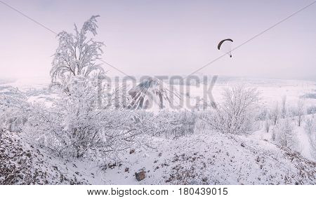 Paraglide Flying Over The Winter Valley