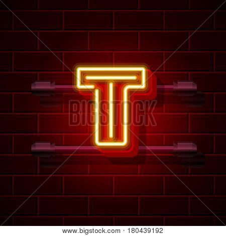 Neon city font letter T signboard. Vector illustration collection