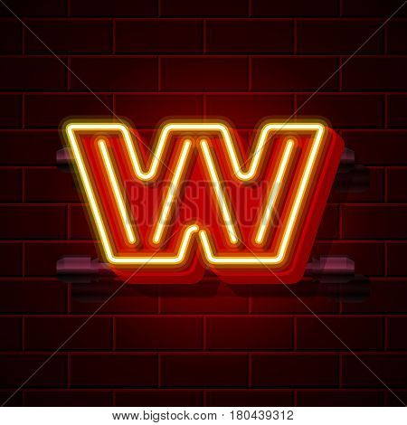 Neon city font letter W signboard. Vector illustration collection