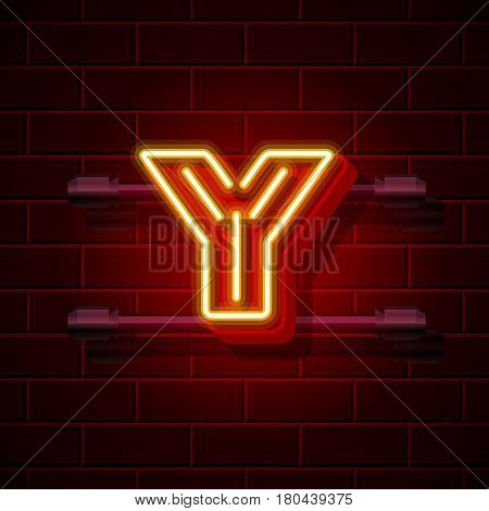 Neon city font letter Y signboard. Vector illustration collection