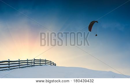 Paraglide Over Winter Valley