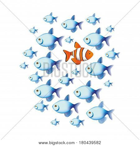 colorful set collection fish aquatic animal with clownfish vector illustration