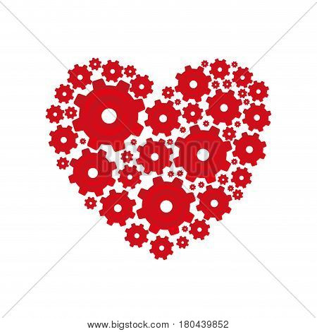 red heart shape with pinions and gears set collection vector illustration