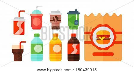 Set of cartoon food non alcoholic beverages tea herbal tea hot chocolate latte mate coffee smoothie, juice milk shake lemonade vector illustration. Unhealthy sweet beverage isolated on white.