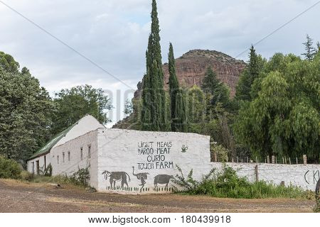 NIEU BETHESDA SOUTH AFRICA - MARCH 21 2017: A road stall next to the scenic Owl Route to Nieu-BetHesda an historic village in the Eastern Cape Province