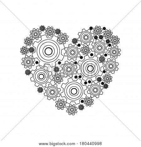 silhouette heart shape with pinions and gears set collection vector illustration