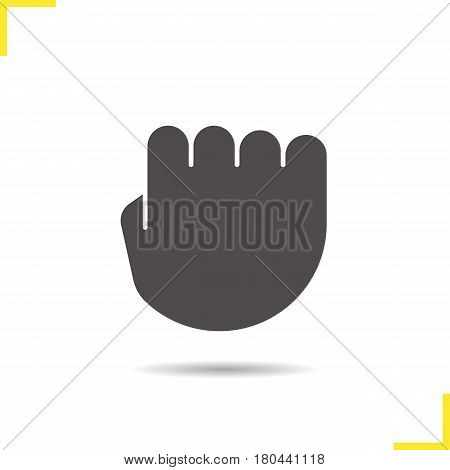 Squeezed fist icon. Drop shadow silhouette symbol. Clenched hand gesture. Negative space. Vector isolated illustration